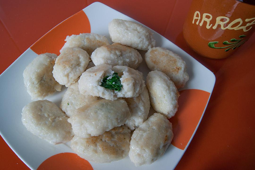Croquetas de arroz con espinacas