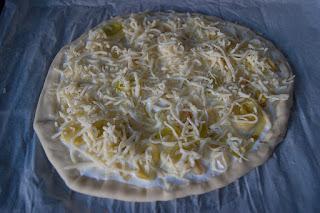 Pizza de puerro y queso