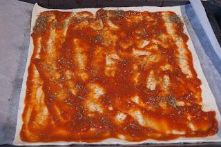 Pizza con masa de hojaldre