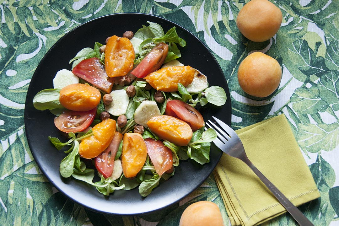 ensalada con albaricoques