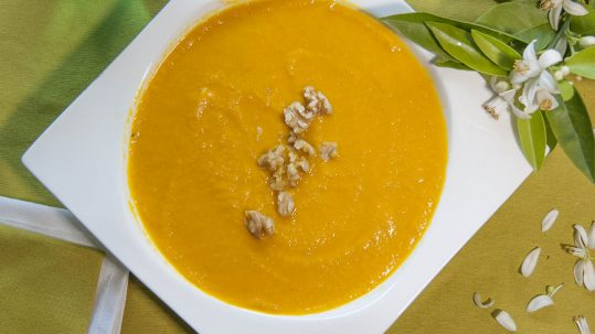 crema de zanahoria y naranja